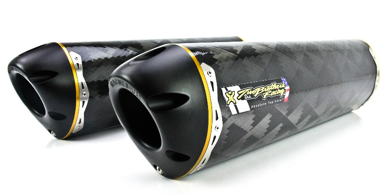 Two Brothers V.A.L.E. Dual Slip-On Exhaust System - M-2 Carbon Fiber