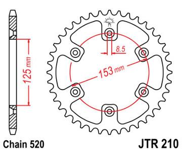 JT Sprocket,s 520 Steel Rear Sprocket, 43T