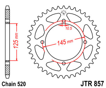 JT Sprocket,s 520 Steel Rear Sprocket, 40T