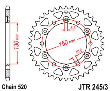 JT Sprocket,s 520 Steel Rear Sprocket, 47T