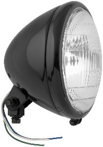 """Bikers Choice Black Springer Style Headlight with Patterned Lens, 6-1/2"""""""