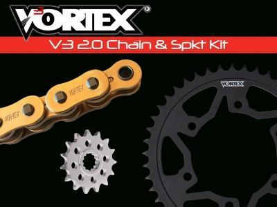 Vortex GFRA Go Fast 520 Conversion Chain and Sprocket Kit - Gold Chain